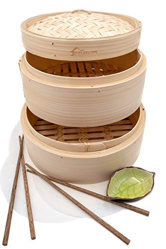 10 Inch Natural Bamboo Dumpling Steamer 2 Tiers Basket with Lid