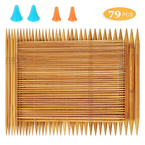 Single Pointed Knitting Needles Set 14 inch 18 pairs Bamboo Wood Carbonized